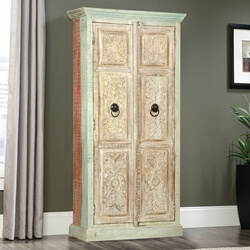 Camelot Hand Carved Tropical Hardwood Armoire