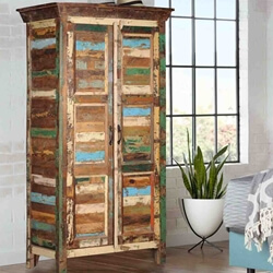 Appalachian Rustic Patchwork Solid Reclaimed Wood Armoire With Shelves