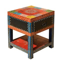 Dolgeville Mango Wood Embossed Hand Painted Square 1 Drawer Nightstand