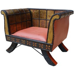 Imperial Mango Wood, Leather & Brass Emperor's Chair