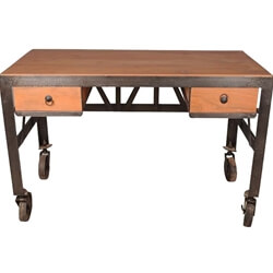 Industrial Iron & Solid Acacia Rolling Writing Desk