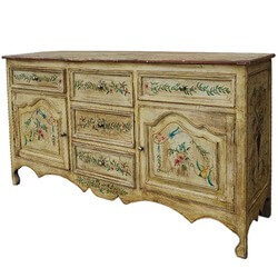 Antique Victorian Hand Painted Solid Wood Large Sideboard
