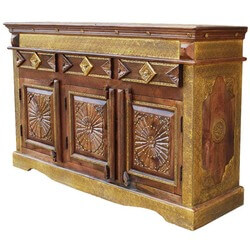 Santa Fe Starburst Mango Wood Brass Inlay 3 Drawer Sideboard Cabinet