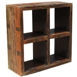 Primitive Open Back Mango Wood Entertainment Bookcase