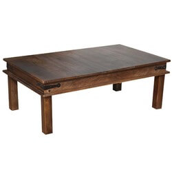 Solid Wood Espresso Coffee Table w Wrought Iron Hinges