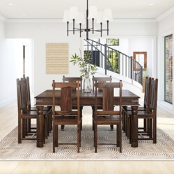 Richmond Rustic Solid Wood Square Dining Room Table Chair Set