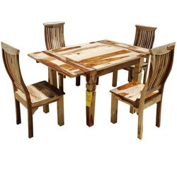 Dallas Ranch Ergonomic 5pc Square Dinette Set w Extensions
