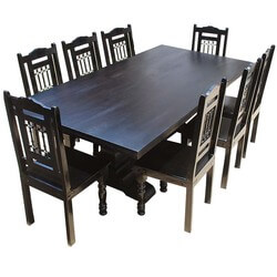 Nottingham Trestle Pedestal Rectangular Wood Dining Table & Chair Set
