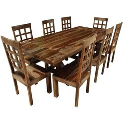 Rustic Hardwood Double-X Pedestal Extendable Dining Table Chair Set