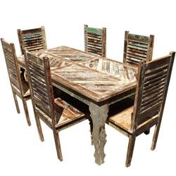 Tucson Rainbow Reclaimed Wood Dining Table & Shutter Back Chair Set