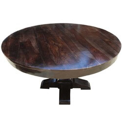 "Rustic Solid Wood 60"" Round Dining Table"