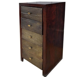 Pomona Handmade Solid Wood Brass Inlay 5 Drawer Tall Dresser