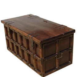 Kokanee Beaufort Primitive Solid Wood & Iron Coffee Table Trunk