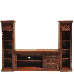 Rustic Solid Wood Twin Bookcase Media Console TV Stand