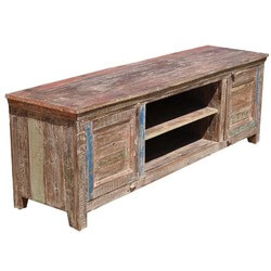 Rustic Distressed Reclaimed Wood Drawer Storage Media Console