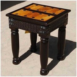 Nottingham Hand Carved Side End Table w Wrought Iron Hardware
