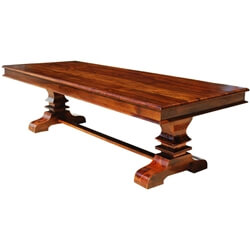Tiraspol Solid Wood Trestle Pedestal Large Rectangle Rustic Dining Table