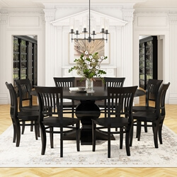 "Sierra Nevada 84"" Large Round Rustic Solid Wood Dining Table Chair Set"