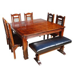 Philadelphia Solid Wood 8pc Dining Set w Leather Bench