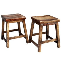 2 Dallas Ranch Solid Wood 4-Sided Square Stools