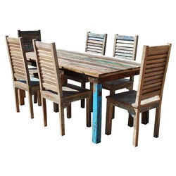 Appalachian 7 Piece Reclaimed Wood Furniture Dining Table & Chair Set