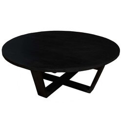 Coffeephile Black Solid Wood Round Coffee Table