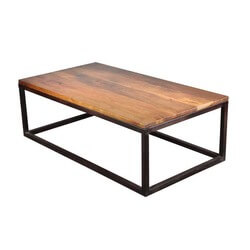 "Iron Mango Wood 52"" Long Industrial Coffee Table"
