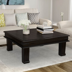 Silverton Solid Wood Square Cocktail Iron Accent Coffee Table