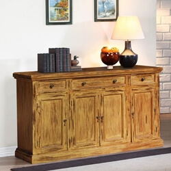 Courtdale Rustic Solid Wood 4 Door 3 Drawer Large Sideboard Cabinet