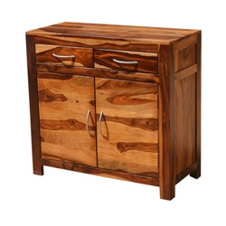 Appalachian Rustic Solid Wood 2 Drawer Storage Buffet Cabinet