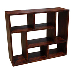 Benicia 7 Open Shelf Solid Wood Home Office Geometric Bookcase
