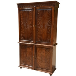 Sierra Large Rustic Solid Wood TV Media Armoire Cabinet With 4 Doors