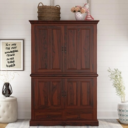 Avon 4 Door Large Solid Wood Media TV Armoire With Drawers