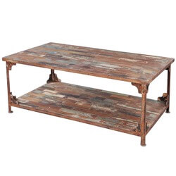Distressed Reclaimed Wood Wrought Iron Industrial Rustic Coffee Table