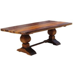Rustic Acacia Wood Double Trestle Pedestal Dining Room Table