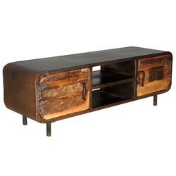 Reclaimed Wood & Iron 1950's Retro Media Console Cabinet