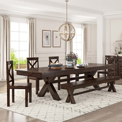 Westside Farmhouse Extendable Dining Table Bench Set For 6 Person