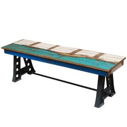 Tustin Rustic Solid Teak Wood Industrial Wrought Iron Bench