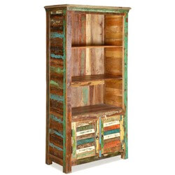 Appalachian Rustic Painted Old Wood Open Book Shelf Cabinet