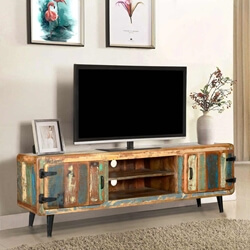 Medway Retro Reclaimed Wood Large TV Media Console w Center Shelves