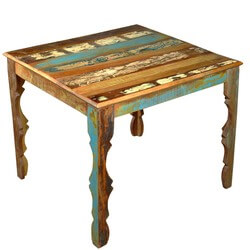 """Rustic Reclaimed Wood 36"""" Square Dining Table w Decorative Legs"""