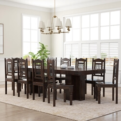 Dallas Classic Solid Wood Double Pedestal Dining Set