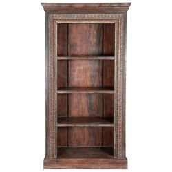 Turlock 4 Open Shelf Rustic Reclaimed Wood Standard Bookcase