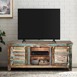 Fenwick Rustic Reclaimed Wood Shutter Door TV Stand Media Console