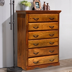 Shaker Solid Mango Wood 6 Drawer Tower Dresser