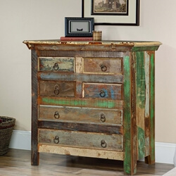 Norfolk Rustic Reclaimed Wood 6 Drawer Standard Vertical Chest