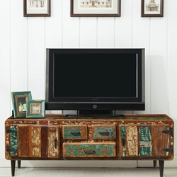 "Retro 71"" Reclaimed Wood Three Drawer Rustic TV Media Console"
