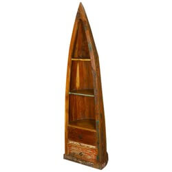 El Cerrito 3 Shelf Rustic Reclaimed Wood Canoe Bookcase With Drawers