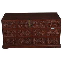 Langley Rustic Mango Wood Floral Motif Storage Chest Box
