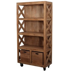 Dinuba 4 Open Shelf Modern Rustic Solid Wood Bookcase